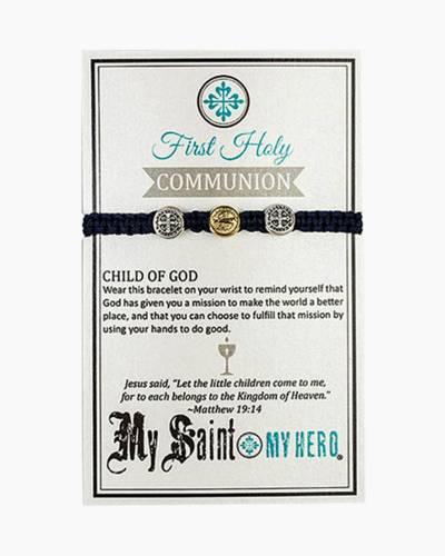 First Communion Blessing Black Bracelet