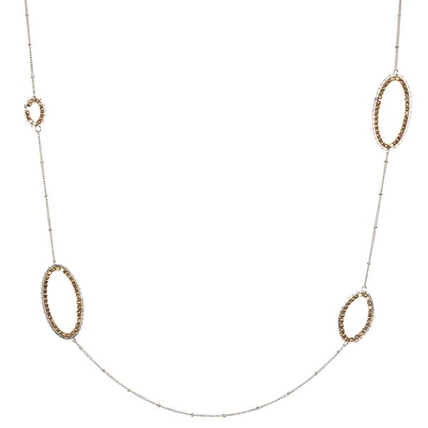 Mia and Tess Beaded Metal Oval Necklace