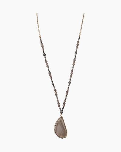 Long Druzy Pendant Necklace