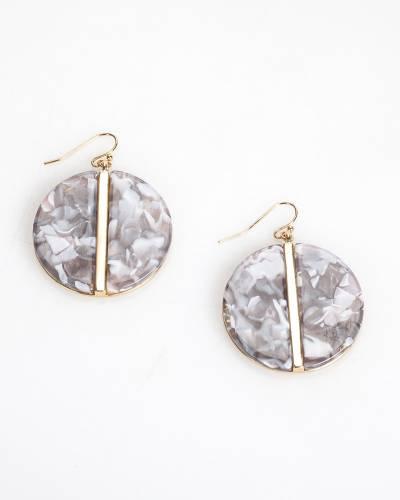 Resin Disc Earrings in Grey