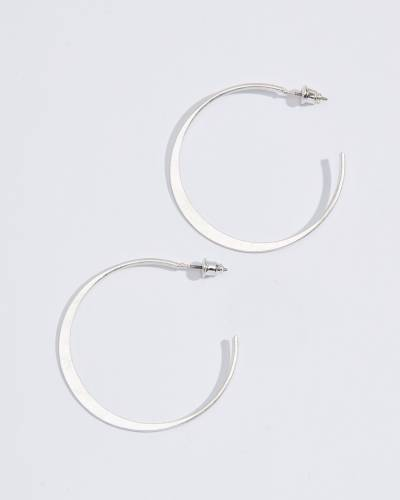 Small Flat Open Hoop Earrings in Silver
