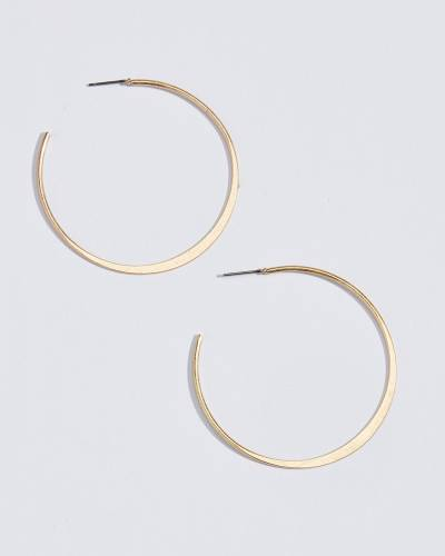 Medium Flat Open Hoop Earrings in Gold