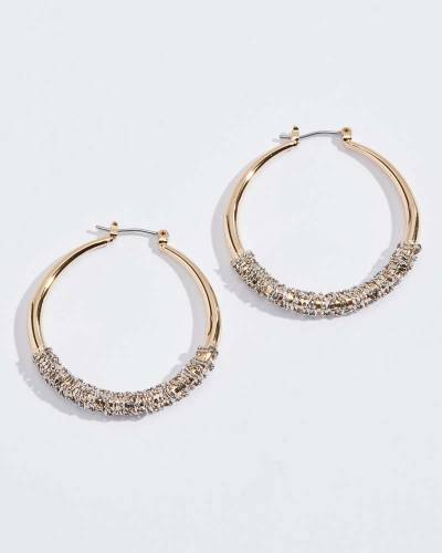 Two-Tone Wire Wrap Hoop Earrings