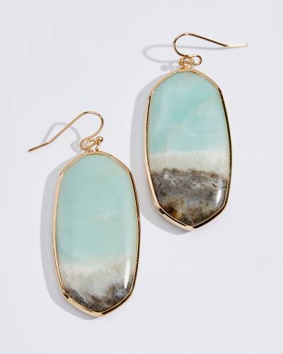 Green Amazonite Oval Stone Earrings