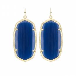 Kendra Scott Danielle Gold Earrings in Navy Cat's Eye