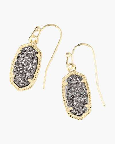 Platinum Drusy Lee Gold Drop Earrings
