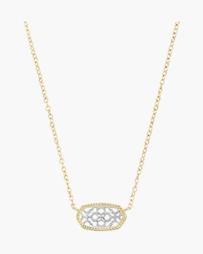 Elisa Two-Tone Filigree Pendant Necklace