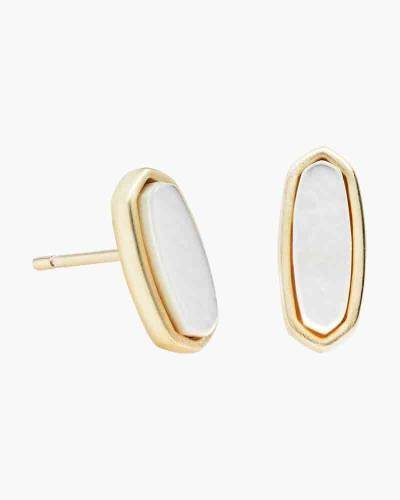 Ivory Pearl Mae Gold Stud Earrings
