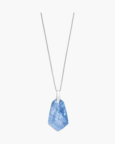 Sky Blue Illusion Cam Bright Silver Long Pendant Necklace