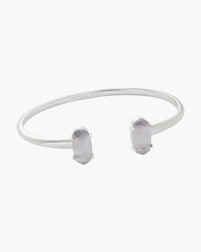 Slate Cats Eye Edie Bright Silver Cuff Bracelet
