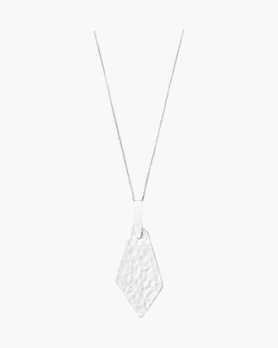 Brenton Long Pendant Necklace in Bright Silver