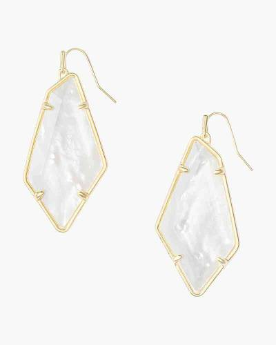 Emmie Gold Drop Earrings In White Mother-of-Pearl