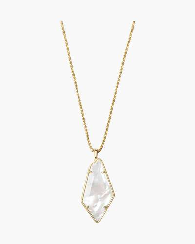 Lilith Gold Long Pendant Necklace in Ivory Mother-of-Pearl