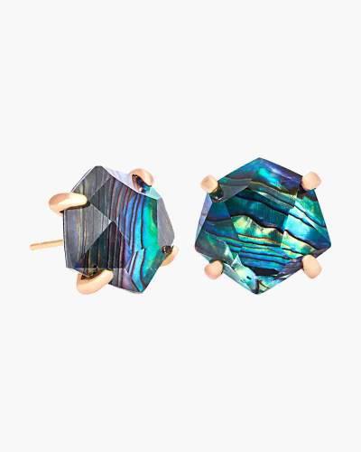Ellms Rose Gold Stud Earrings in Abalone Shell