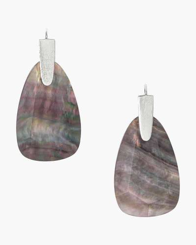 Marty Bright Silver Drop Earrings in Black Mother-of-Pearl