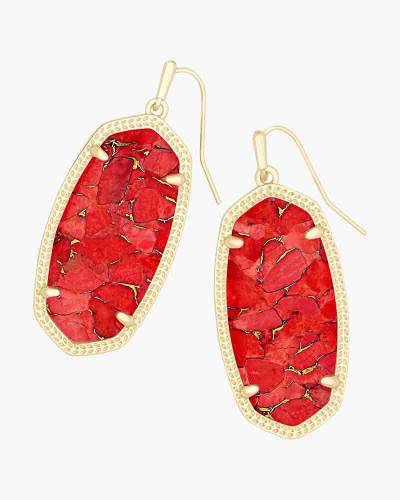 Elle Gold Drop Earrings in Red Magnesite