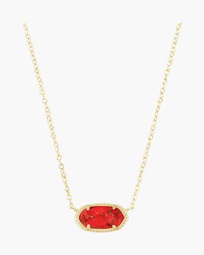 Elisa Gold Necklace in Red Magnesite