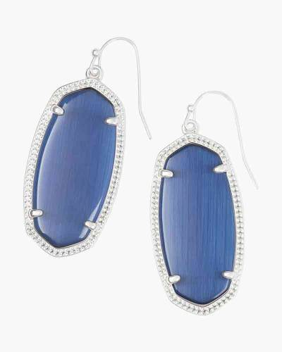 Elle Silver Drop Earrings in Navy Cat's Eye