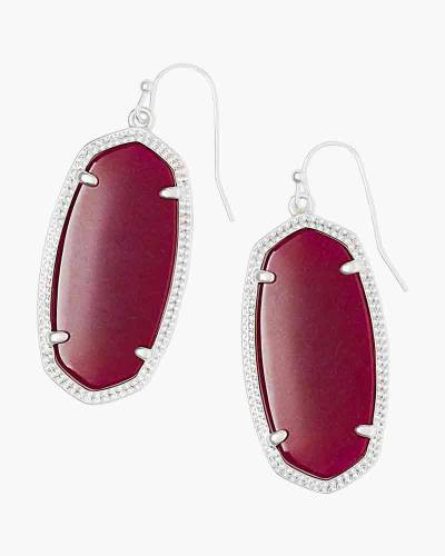 Elle Silver Drop Earrings in Maroon Jade