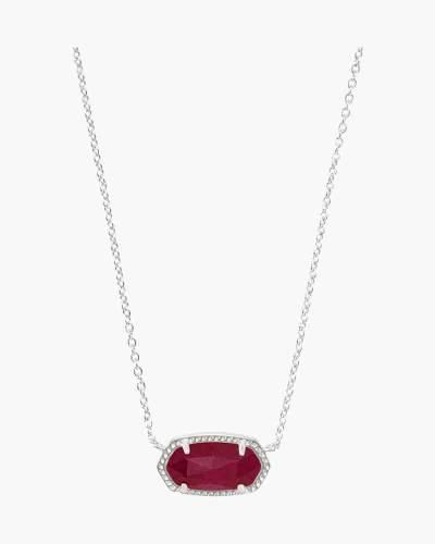 Elisa Silver Pendant Necklace In Maroon Jade