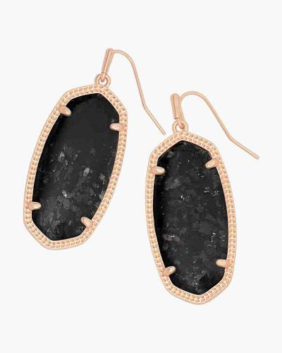 Elle Rose Gold Drop Earrings in Black