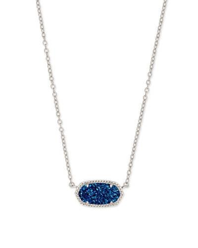 Indigo Drusy Elisa Silver Pendant Necklace