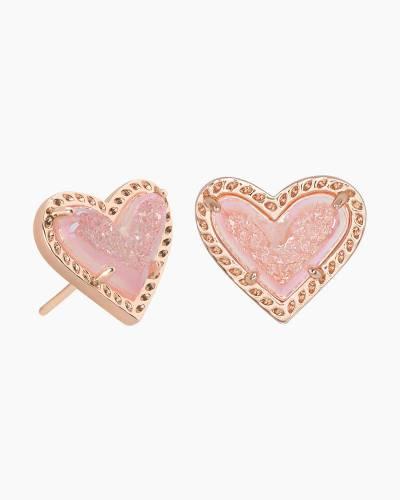 Ari Rose Gold Earrings in Pink Drusy
