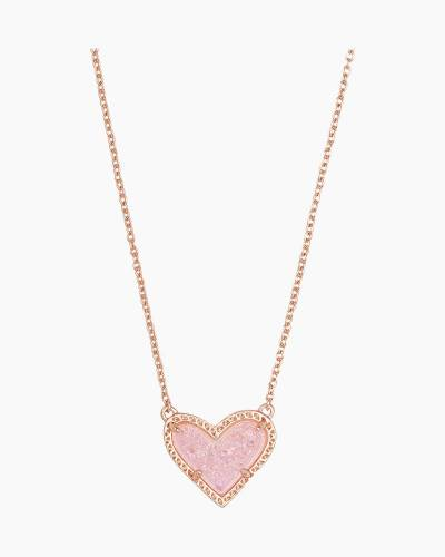 Ari Rose Gold Short Pendant Necklace in Pink Drusy