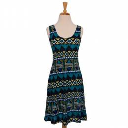 Fantazia Turquoise and Lime Pattern Dress