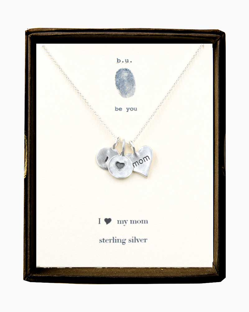 B. U. Jewelry I Love My Mom Necklace in Silver