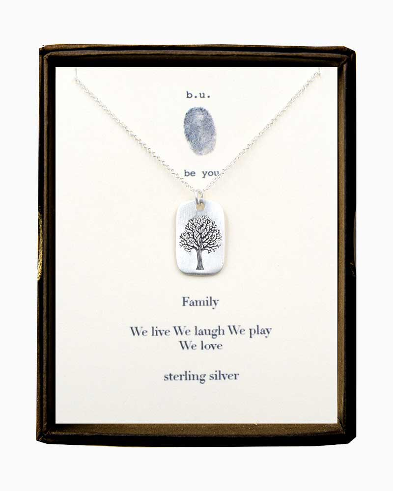 B. U. Jewelry Family Tree Tag Necklace