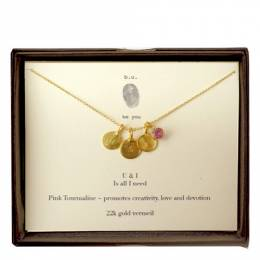 B. U. Jewelry U and I Pink Tourmaline Necklace in Gold