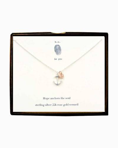 Hope Anchors the Soul Silver and Rose Gold Necklace