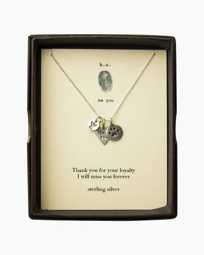 Thank You Paw Print Silver Necklace