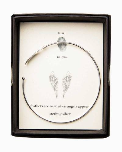 Angel Wing Silver Open Bangle
