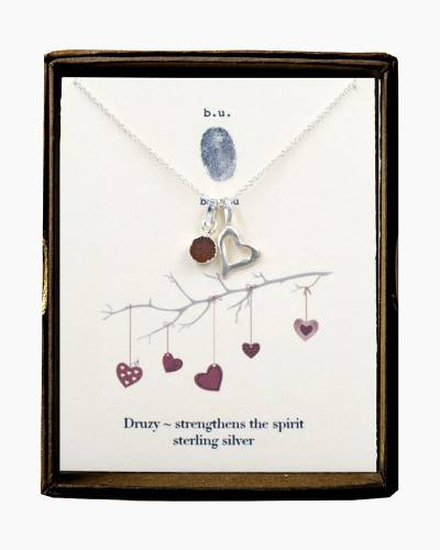 Valentine's Day Hanging Heart and Druzy Charm Necklace