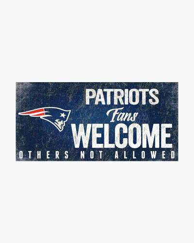 New England Patriots Fans Welcome Wooden Sign