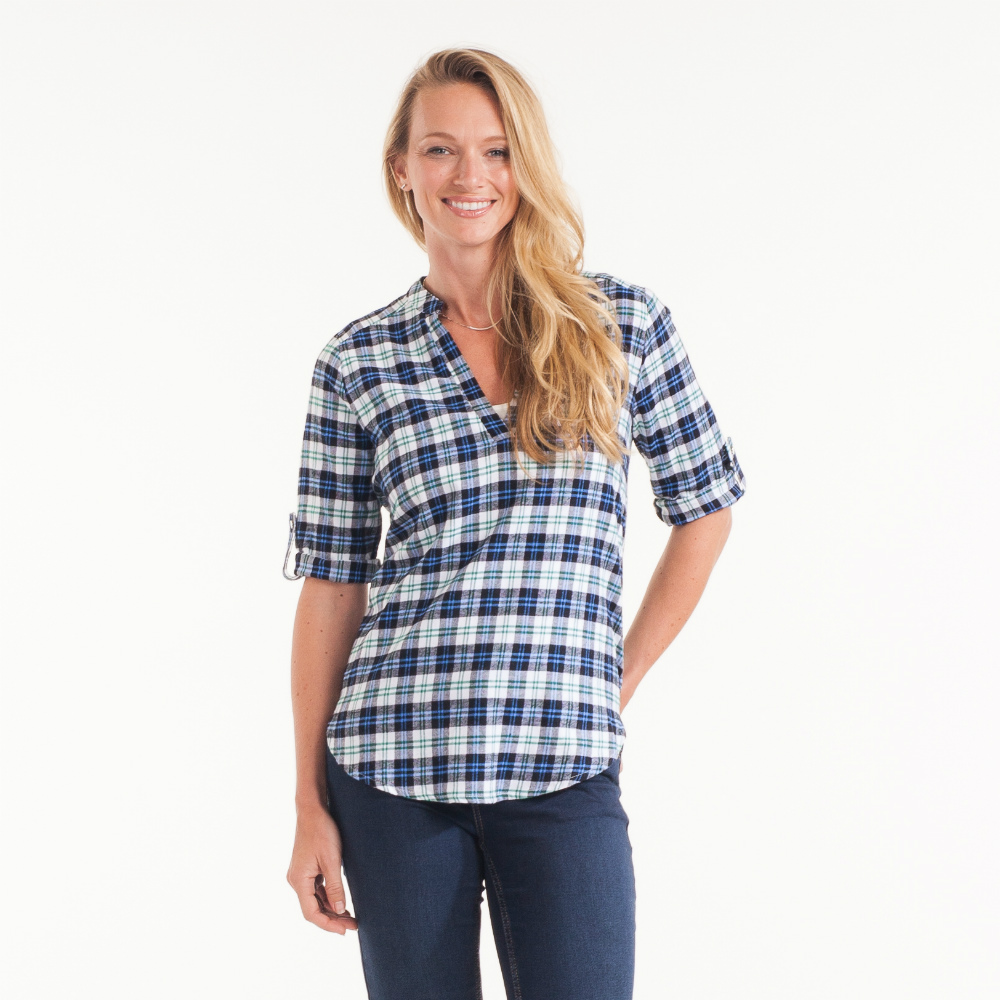 Renee C. Split-Neck Plaid Tunic in Navy Blue