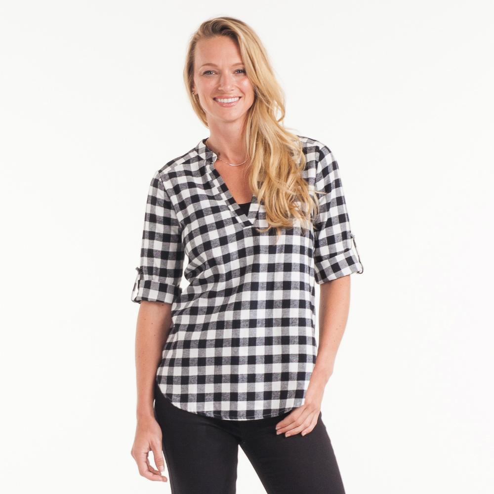 Renee C. Split-Neck Plaid Tunic in Black