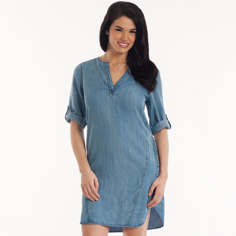 Renee C. Split-Neck Chambray Dress