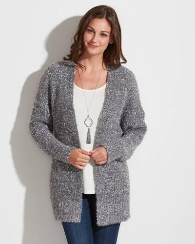 Exclusive Eyelash Cardigan in Grey