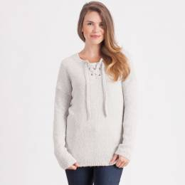 Dreamers Tie-Neck Sweater in Grey