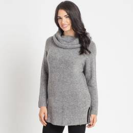 Dreamers Oversized Turtleneck Sweater in Charcoal