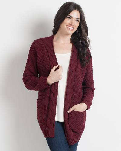 Chunky Cable Knit Cardigan in Burgundy