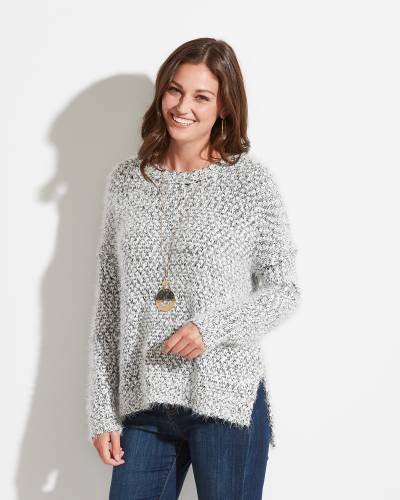 Exclusive Eyelash Sweater in Black and White Heather