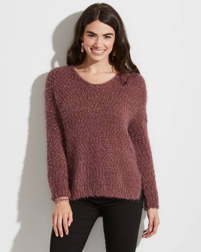 Exclusive Dark Mauve Eyelash Knit Sweater