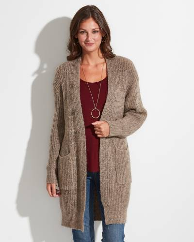 Exclusive Long Knit Cardigan in Taupe