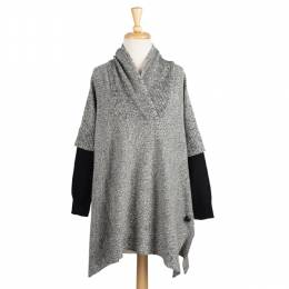 RD International Style Heather Grey Shawl Collar Poncho