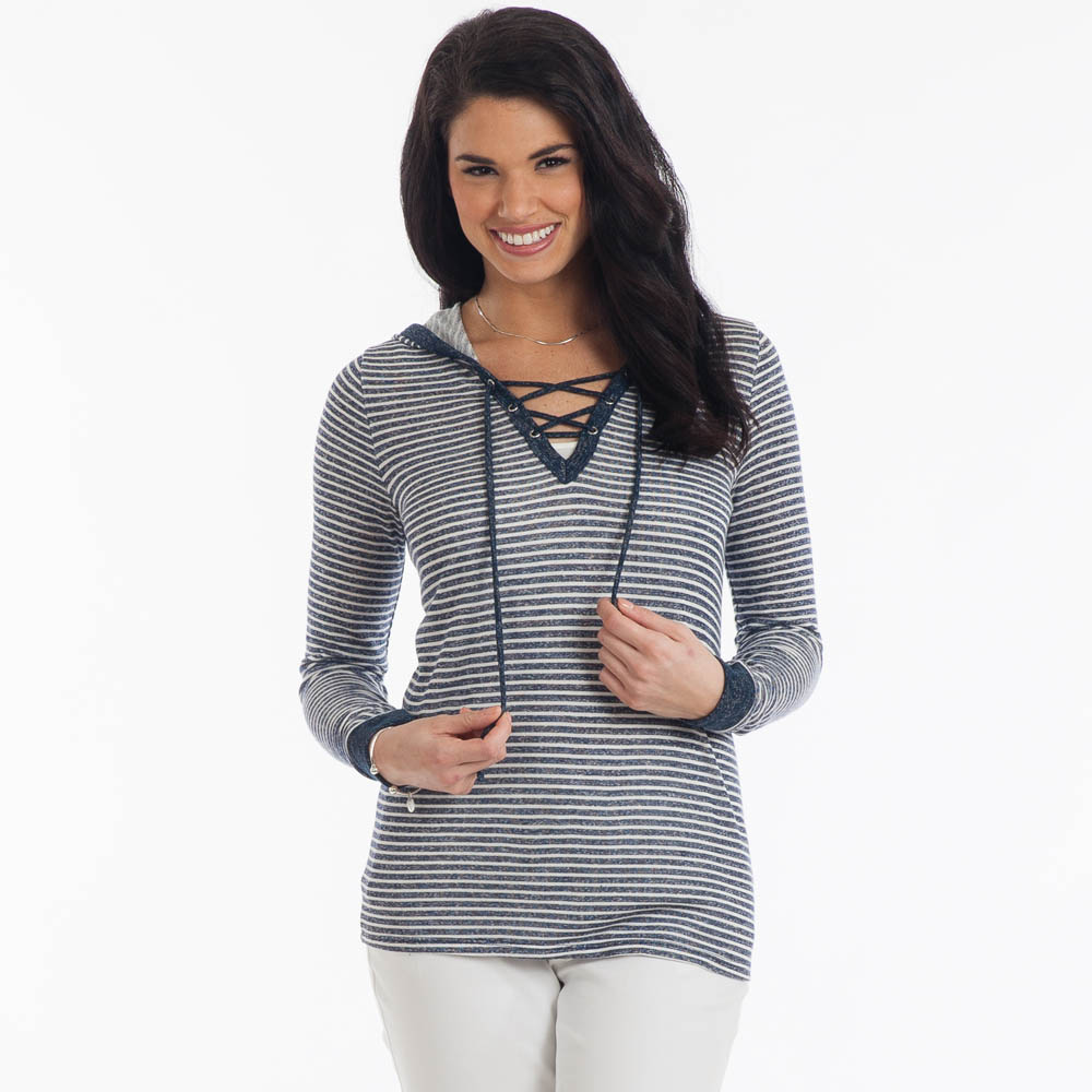 Tres Bien Tie Neck Hoodie in Blue Stripes