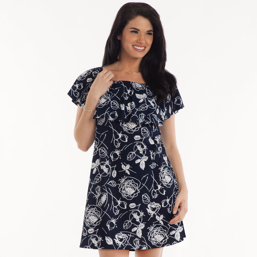 Tres Bien Off-the-Shoulder Floral Dress